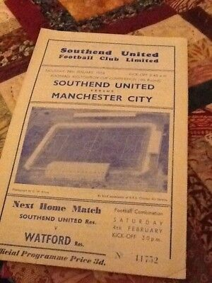 55/56 Southend United V Manchester City Fa Cup