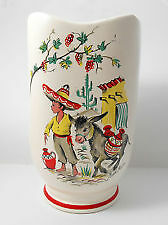 Pair of VINTAGE 50'S CROWN DUCAL LITTLE PEDRO VASE  MEXICAN BOY & DONKEY KITSCH