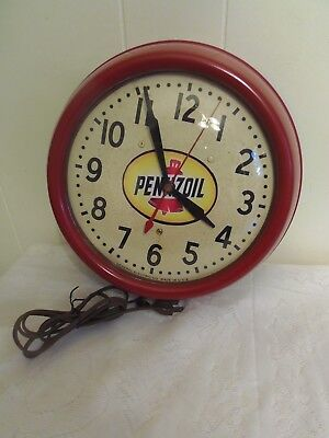 Vintage Pennzoil Electric Clock by General Electric Co, Made in USA