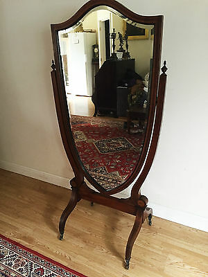 Antique Edwardian Inlaid Sheild Cheval Mirror