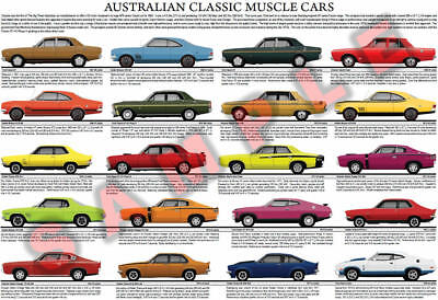 Australian Classic Muscle Cars poster Falcon GT HO Monaro Valiant Pacer Charger