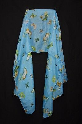 Aquamarine Green Yellow Butterflies & Flowers Print For Great Mood Scarf (S176)