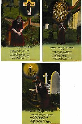 Bamforth Set  Postcards 'Nearer, my God, to thee'' number 4761. three cards
