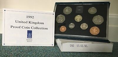 1992 royal mint 9 coin proof set inc the very rare dual dated EEC 50p