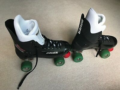 Authentic Bauer Turbo Quad Roller Skates with SIMS Street Snake Wheels Size 7/8