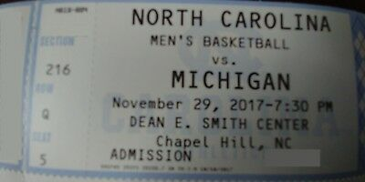 Unc Mens Basketball Tickets To Michigan Game Wednesday Nov 29Th