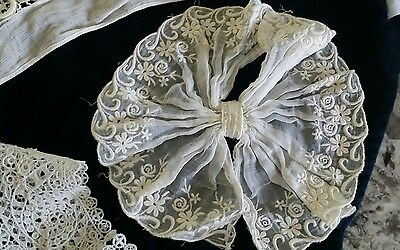 Lot Antique Lace Trim Victorian Clothing Remnants Collars Bow Hair Comb