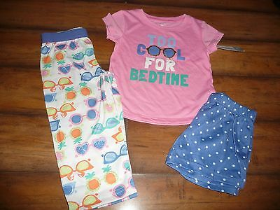 """NEW girls Carter's 3 Piece PJs """"Too cool for bedtime"""" Top Bottoms NWT size 24 m"""