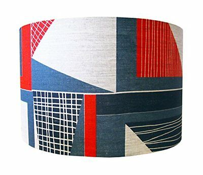 Tamasyn Gambell rosso, blu e antracite Abstract Square paralume in lino, largo,
