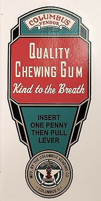 Columbus, Quality Chewing Gum, Green.vending, Coinop Water Slide Decal # Dc 1029