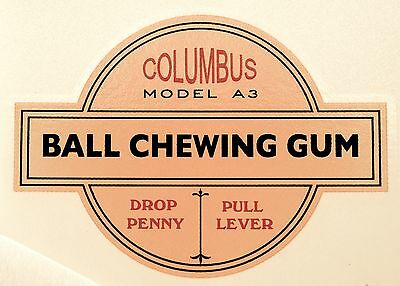 Columbus Model A3, Ball Chewing Gum, Coinop,  Water Transfer Decal # Dc 1028