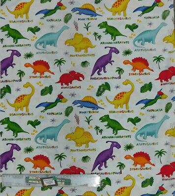 Quilting Patchwork Sewing Fabric DINOSAURS ON WHITE Material 50x55cm FQ NEW