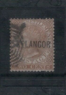 """Malaya Selangor 1881 2c brown with inverted """"S"""" of Selangor all letters narrow"""