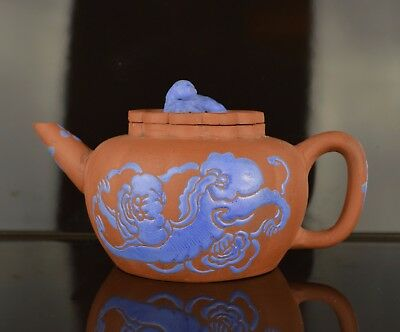A Very Fine Chinese Yixing Teapot Possibly 18Th Century With Blue Enamel