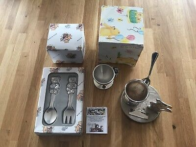 Collection of Christening Gifts Inc Royal Selangor Pewter Egg Cup Fork & Spoon