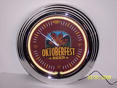 """Oktoberfest Beer Neon Bar Clock, NIB"