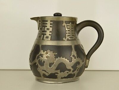 A Chinese Whieaiwei Yixing Jug With Metal Dragon Decoration . Marks To Base