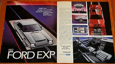 Large 1982 Ford Exp Coupe Awesome Ad - Retro 80S Old School Vintage American