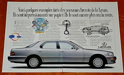 French 1991 Lexus Ls 400 Canadian Ad - Retro Old School Japanese Luxury Car