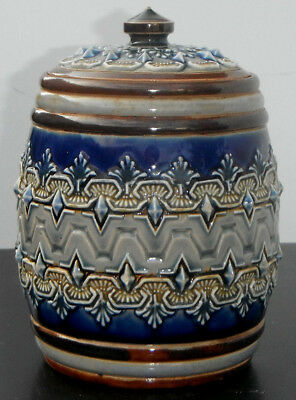 Doulton Lambeth Stoneware Lidded Tobacco Jar nicely decorated