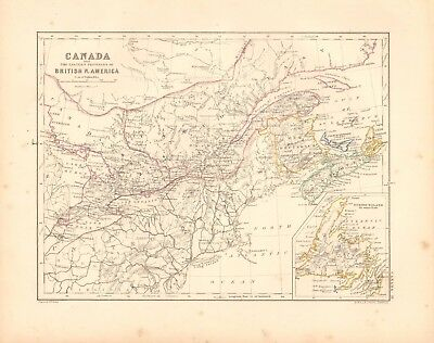 1868  Antique Map - Canada And Eastern Provinces Of British North America