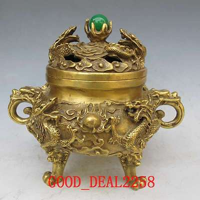 Chinese Vintage Handwork Bronze Carved Dragon Incense Burners w XuanDe Mark