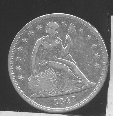 1843 Seated Liberty Silver Dollar. XF cleaned, bright.