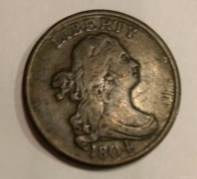 1804 SPIKED CHIN Bust Liberty half cent, F-VF