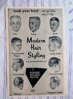 Vintage 1957 Barbershop Modern 9 Mens Haircuts Chart Drawings Sign Ad