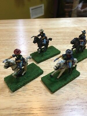 (4) 25-28mm Old West ACW US Cavalry painted miniatures Metal Detailed Lot 1