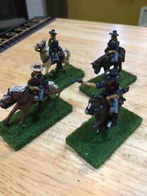(4) 25-28mm Old West ACW US Cavalry painted miniatures Metal Detailed Lot 3