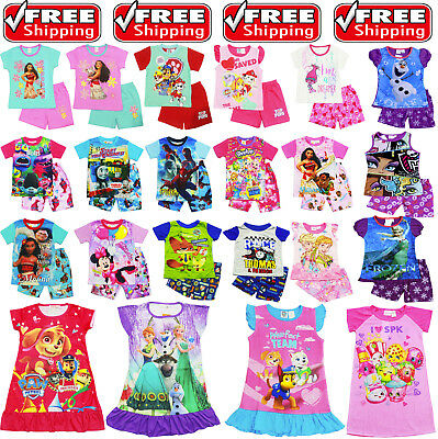 New Size 1-12 Kids Pyjamas Summer Paw Moana Trolls Girls Sleepwear Nighties Pjs