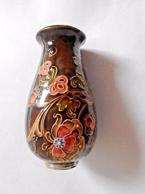 A Moorcroft Style Pottery Vase With Silver Rim London  Decorated Leaves-Antique
