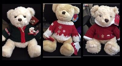 Harrods Christmas Bear Bundle 2006 2008 2009 Soft Toys With Tags
