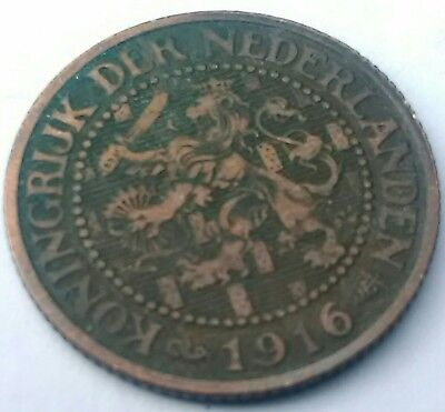 Old antique 1916 Netherlands 2 1/2 cent coin. Over 100 yrs Dutch from Holland.