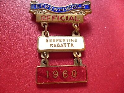 Serpentine Regatta Not Henley News the World OFFICIAL Rowing Enamel Badge 1960