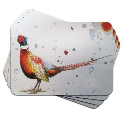 Sarah Stokes Pheasant Placemats Border Fine Arts - Set Of 4 -Brand New And Boxed