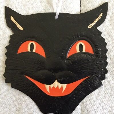 Vintage Beistle Die Cut Cat Face Original Halloween Nice