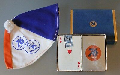 Union 76 Oil Co. Minute Man Beanie & Unopened Boxed 2 Deck Playing Card Set,