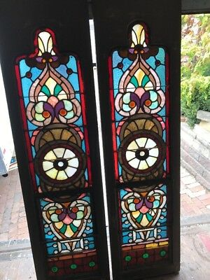 Kr 2 Match Pair Antique Jeweled Stainglass Sidelight Windows 17.5 X 65.5