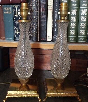 VINTAGE Pair Crystal Glass Table Lamps On Squared Footed Gilt Bases