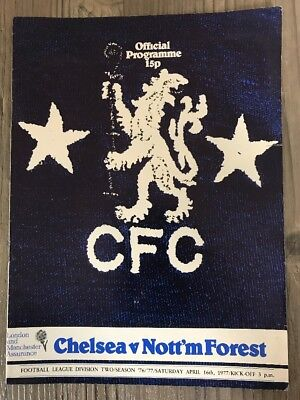 Chelsea V Nottingham Forest Football Programme 1977. Chelsea Football Program