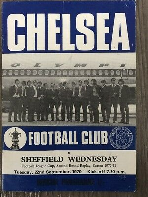 Chelsea V Sheffield Wednesday Football Programme 1970. Chelsea League Cup
