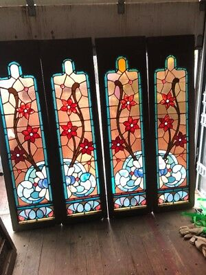 Kr 3 2 Pair Available Price Each Antique Floral   Sidelight Window 17.5 X 65.5