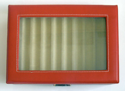 8 Pen Display Case Leatherette and Glass