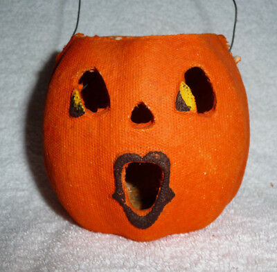 "Vintage Halloween Paper Mache Jill O'lantern This Dainty Miss Measures 3 1/2"" H"