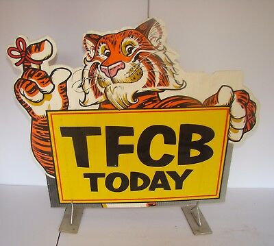 Original Esso Exxon TFCB(Thanks For Coming By) Tiger Gas Pump Sign and Stand