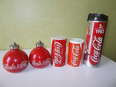 Lot Coca-Cola Radio Tirelire + Gourde Bouteille Pin Up Isotherme + Bombes A Cola