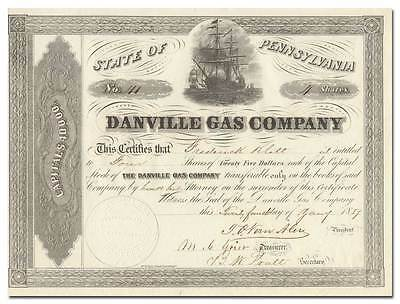 Danville Gas Company Stock Certificate (Issued in 1857!)