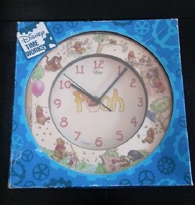 "VINTAGE Walt Disney ""Pooh"" Wall Clock by Time Works >RARE< NEW"